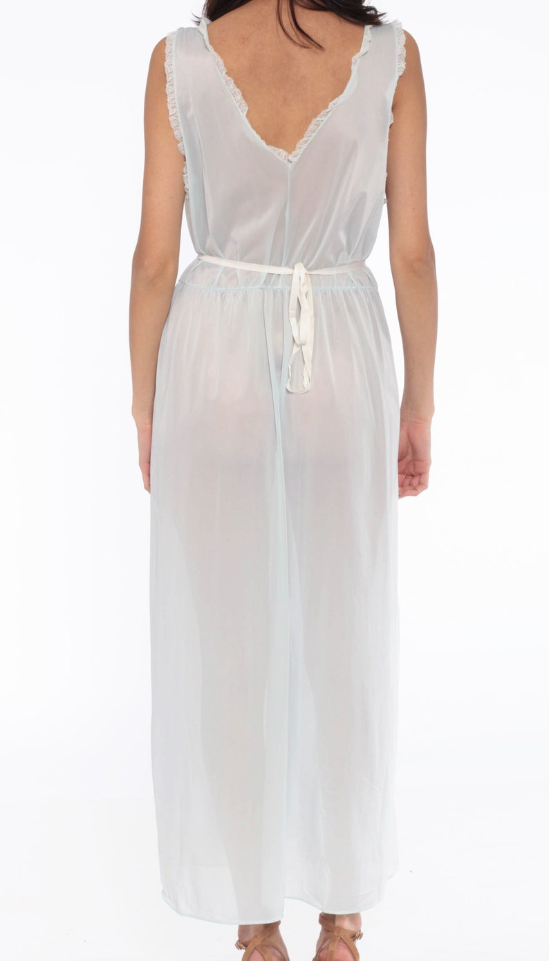 Sheer Nightgown Lingerie Baby Blue Slip Dress 70s Maxi Nightgown Deep V Neck Boho RUFFLE Empire Waist Vintage Bohemian Pastel Long Large