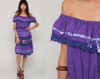 Bohemian Dress Midi OFF SHOULDER Dress Mexican Embroidered Boho Dress Purple Peasant Summer Lace Hippie High Waist Vintage Extra Large xl