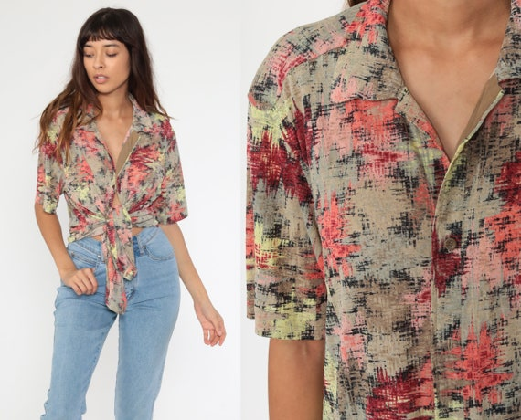 90s Button Up Shirt BRUSHSTROKE PRINT Top Abstract Blouse Short Sleeve Vintage Polyester Retro Surfer Coral Tan Brown Large
