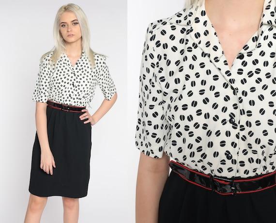 80s Mini Dress Vintage Black White Geometric Shirtdress 1980s Button Up Dress Secretary 1980s Short Sleeve High Waist Extra Small xs
