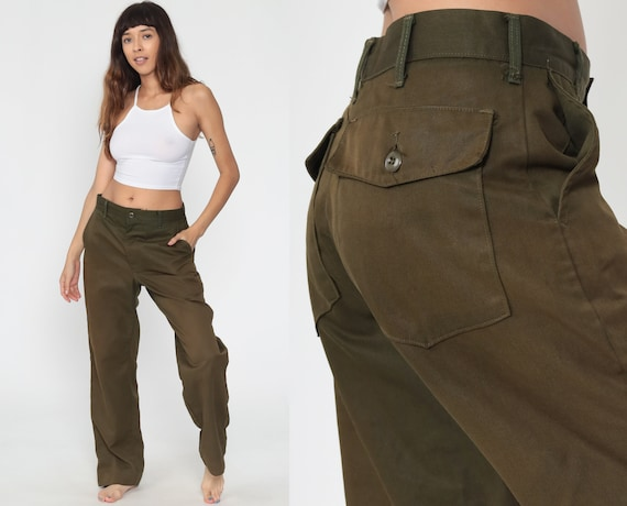 Brown Army Pants 80s Cargo Pants MILITARY High Waisted Combat Aramid Vintage Utility Punk Grunge Olive Drab Army Pockets Medium 32