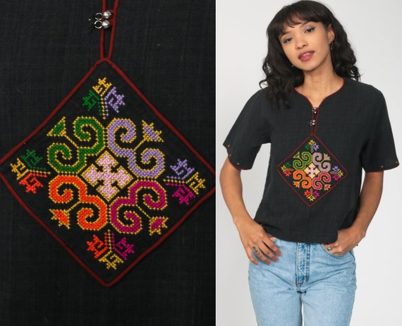 Hippie Shirt Embroidered Top Aztec Blouse Black Tunic Shirt Tribal Bohemian Shirt Short Sleeve Vintage Boho Top Ethnic Shirt Small