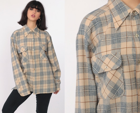 Pendleton Plaid Shirt 80s WOOL Flannel Plaid Shirt Distressed 1980s Lumberjack Button Up Long Sleeve Vintage Retro Tan Collared Large