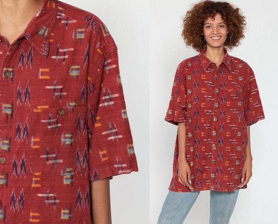 Ikat Shirt Men's Red Tribal Shirt Button Up Shirt 90s Vintage Boho Hippie Short Sleeve Guatemalan Shirt Grunge Bohemian Button Up Large xl