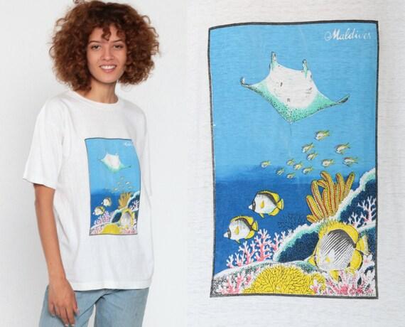 Stingray Shirt MALDIVES Tropical Fish Shirt 80s Burnout Graphic T Shirt Vintage Under The Sea 1980s T Shirt Coral Nature Small Medium