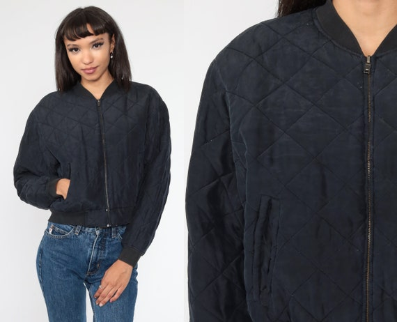 Quilted Silk Jacket 90s Cropped Jacket Black Jacket 1990s Crop Zip Up Jacket Lightweight Jacket Small S