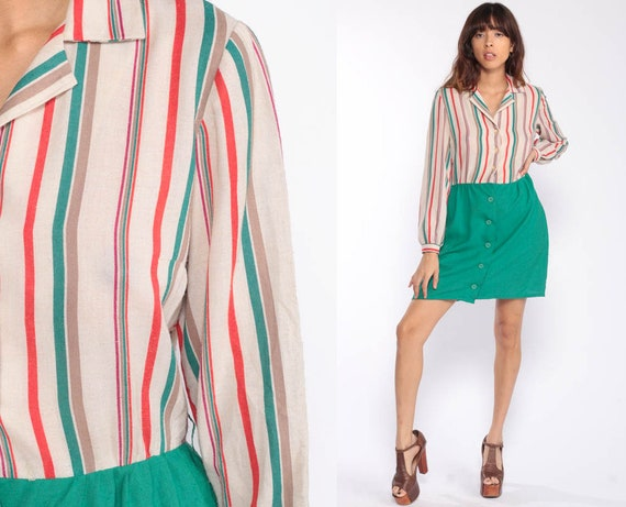 Striped Dress 70s Long Sleeve Mini Dress Button Up High Waisted 1970s Vintage Secretary Green Beige Preppy Collared Retro Medium