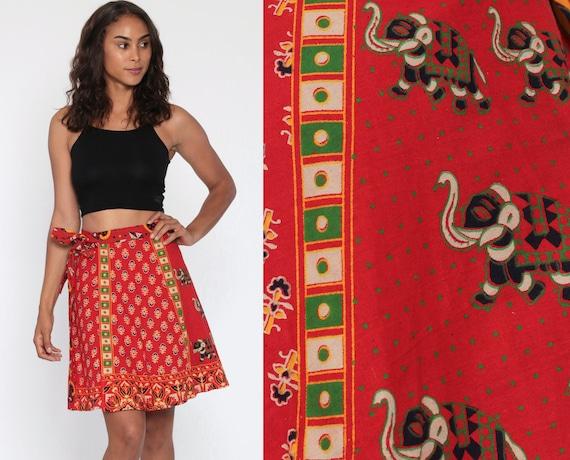 90s Hippie Skirt Batik Mini ELEPHANT Print Wrap Skirt Boho Cotton Bohemian High Waist Vintage Red Festival Green Yellow Small Medium