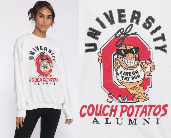 Couch Potatoes Alumni Shirt Joke Sweatshirt 90s College Shirt Cartoon Pullover Vintage Graphic Jumper Small Medium