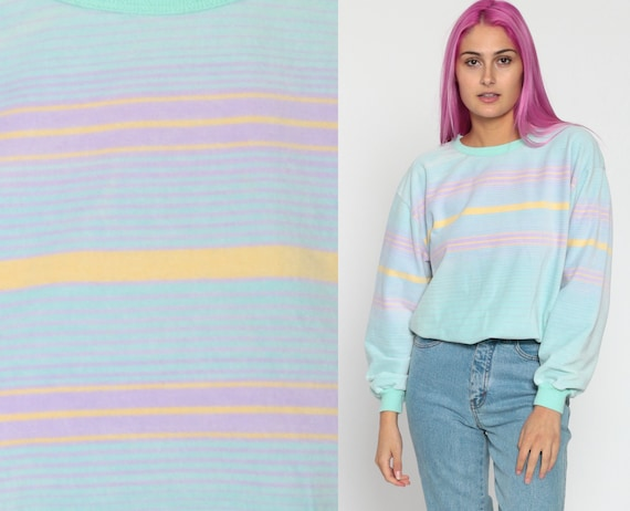 Pastel Velour Sweatshirt -- Baby Blue Striped Shirt Slouchy 80s Pink Pullover Jumper 1980s Soft Kawaii Vintage Long Sleeve Small Medium