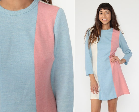 70s Mini Dress Pink Blue Striped Dress 60s Edith Flagg Shift Mod Boho Hippie Dress Vintage 1970s Pastel Long Sleeve Minidress Small