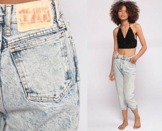 Bongo Jeans Mom Jeans Cropped Capri Jeans High Waisted Jeans 80s Acid Wash Denim Slim 90s Vintage Hipster Bow Jeans Extra Small xs 2 26