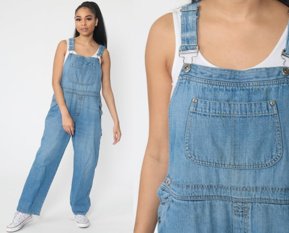 90s Overalls Pants Bib 1990s Denim Pants Jean Dungarees Coveralls Long Grunge Blue Vintage Carpenter Boyfriend Women's Large