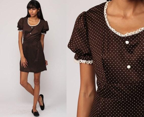 Boho Mini Dress Puff Sleeve 70s Mini Babydoll Brown Polka Dot 1970s Mod Dolly Empire Waist Bohemian Vintage Small