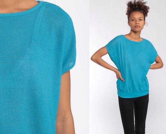Blue Mesh Top Sheer Shirt 80s Jersey Shirt Retro Sports Cap Sleeve Bright Blue Cutout 1980s Sleeveless Vintage Cotton Poly Medium