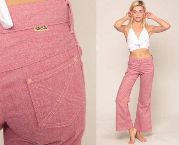 Bell Bottoms Pants Pink Jeans 70s Denim Pants Boho Hippie 1970s Vintage Bohemian Jean Flared Extra Small xs 2 26