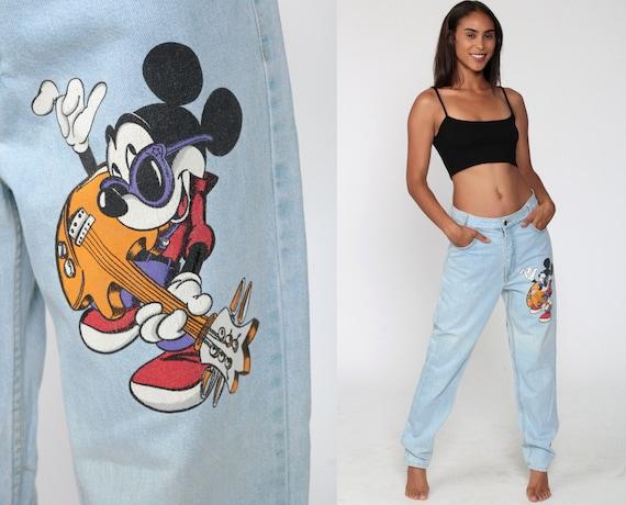 90s Disney Jeans MICKEY MOUSE Jeans Mom Jeans High Waisted Tapered Leg Denim Pants Jerry Leigh Blue 1990s Vintage Kawaii Cartoon Medium