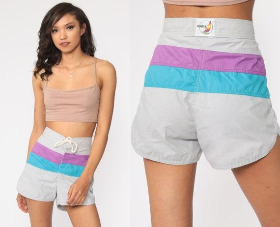 80s Swim Trunks -- Hobi Board Shorts Grey Bathing Suit Shorts Surf Swim Shorts Surf Striped 90s Swimsuit Drawstring Shorts Small