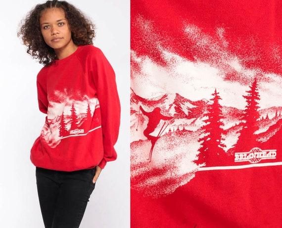 Brian Head Ski Sweatshirt -- Mountain Sweatshirt Utah Shirt 80s Graphic Ski Sweater Skiing Raglan Sleeve Vintage Retro Red Small Medium