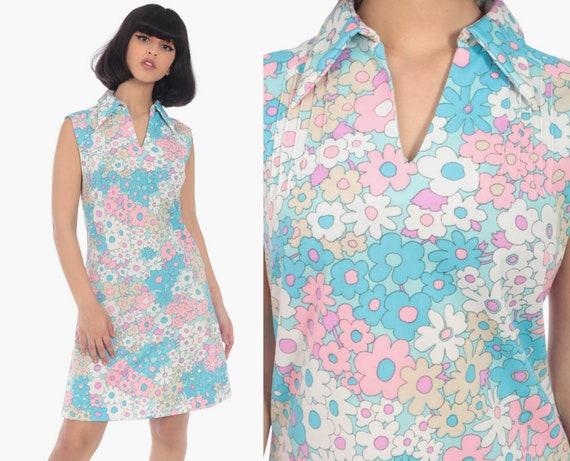 Floral Shift Dress 60s Mod Mini Pink Blue Flower Print Hippie Vintage 70s Gogo Twiggy Summer Sixties Minidress Sleeveless Small 4