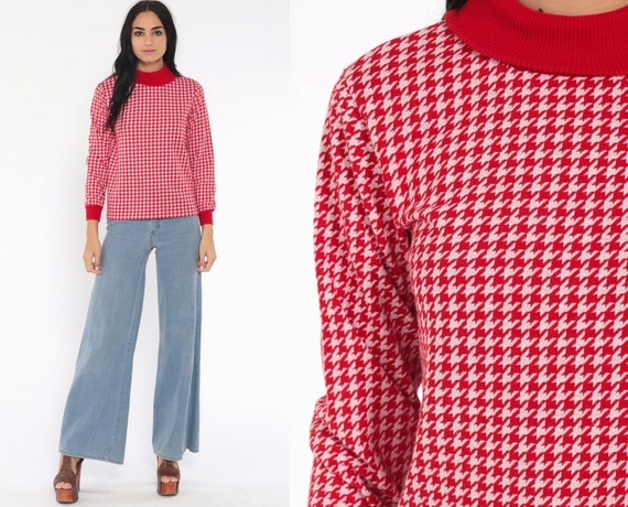 70s Turtleneck Shirt Red Houndtooth Boho Checkered Plaid High Neck Top Retro Long Sleeve Funnel Vintage 1970s Bohemian White Small