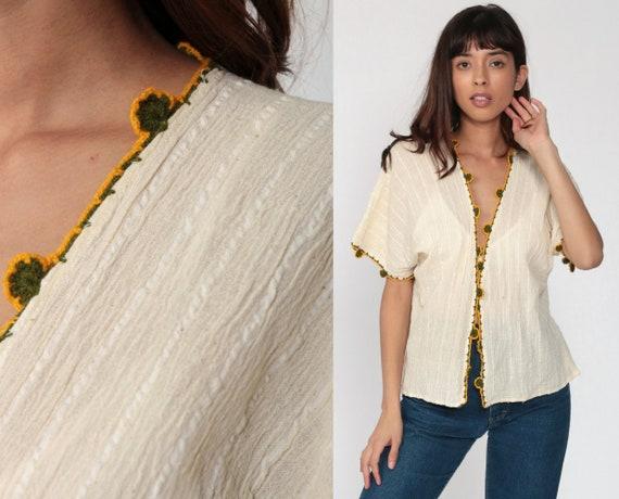 Open Front Top Cotton Gauze Shirt 70s Boho Shirt Cream Blouse Hippie Top Crochet Short Sleeve Summer Vintage Bohemian Small Medium Large