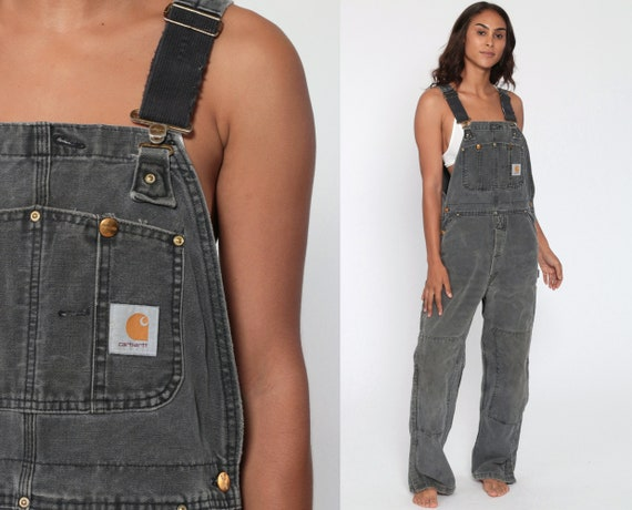 90s CARHARTT Overalls Faded Grey Work Coveralls Baggy Pants Streetwear Coveralls Workwear Long Wide Leg Vintage Sportswear Small Medium