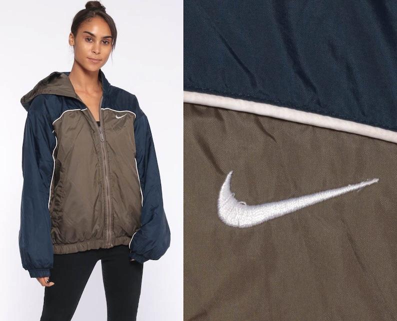 6d6a7db3cb9c Hooded Nike Windbreaker Jacket Brown Blue Nylon Jacket 90s