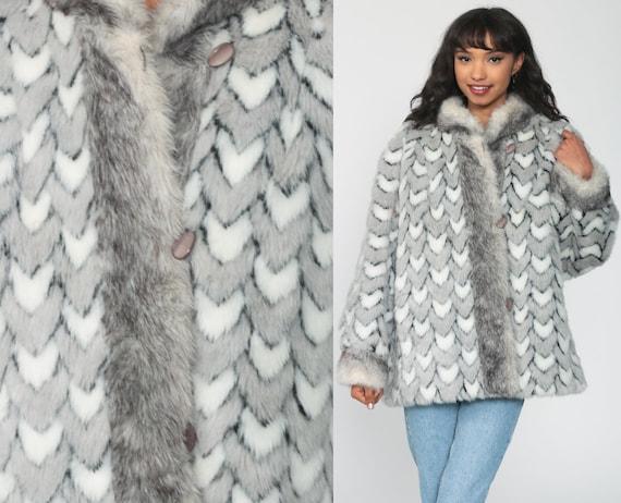 Grey Faux Fur Coat REVERSIBLE Fake Fur Jacket 80s