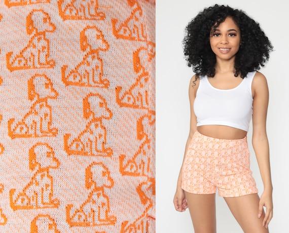 70s Puppy Shorts Mod Dog Print Shorts High Waisted Shorts Hot Pants Novelty Animal Print 60s Vintage Orange Retro 1970s Extra Small xs