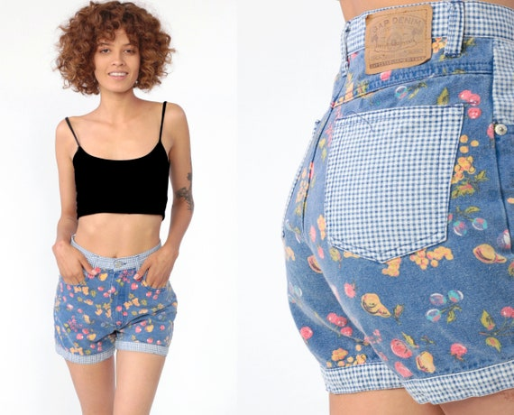 Gap Jean Shorts 90s FRUIT PRINT Shorts Gingham Jean Shorts High Waisted Denim Shorts 1990s Vintage Streetwear Shorts Extra Small XS