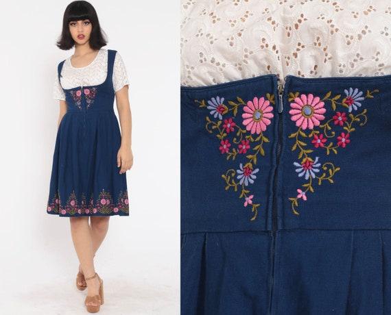 German DIRNDL Dress OKTOBERFEST Mini EMBROIDERED Floral Dress Folk Peasant Dress Costume Blue Ethnic Vintage Jumper Extra Small xs