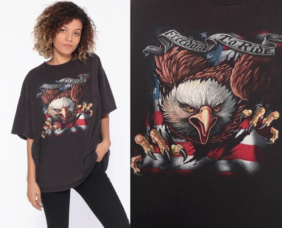 90s Eagle T Shirt -- Black 1990s Biker Shirt Freedom To Ride 80s T Shirt USA Motorcycle Shirt 1990s Moto Graphic Tee Extra Large XL