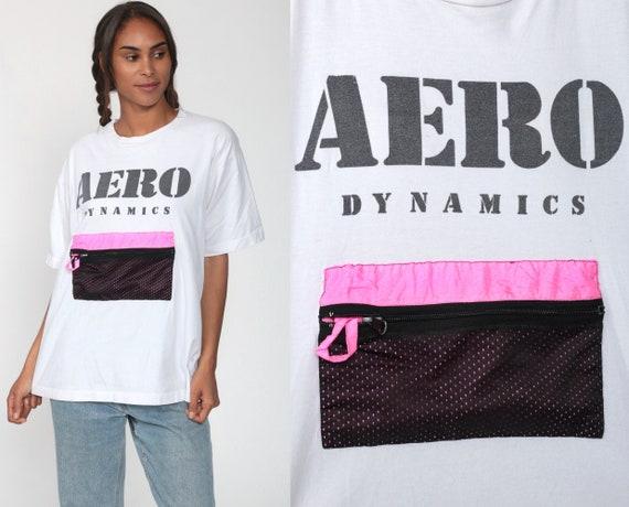 Aero Dynamics Shirt Neon Slogan Shirt 90s Pocket Tshirt Surfer 80s Retro Tshirt Vintage 1990s Small