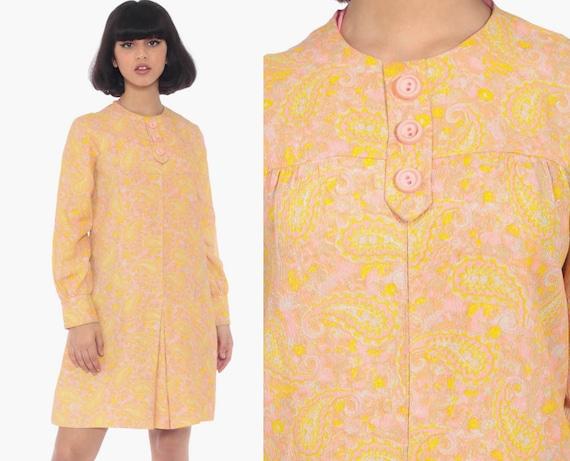 Psychedelic Paisley Dress 60s Mod Mini Dress Shift Boho Twiggy Orange Pink Vintage Pleat Minidress 70s Long Sleeve Medium 8