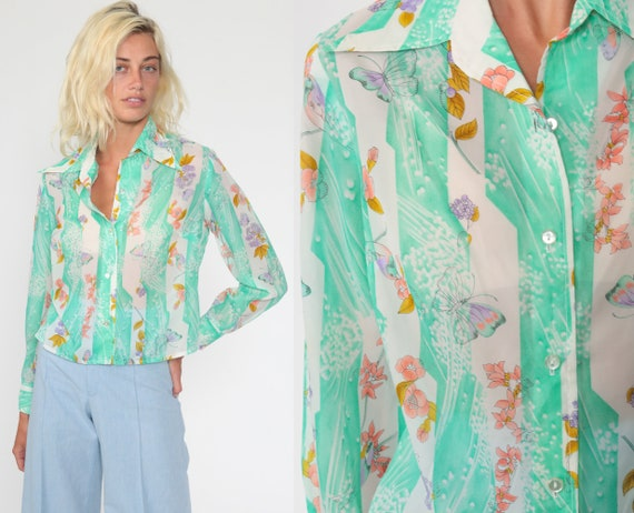 Sheer Butterfly Shirt Green Boho Blouse 70s Hippie Top Psychedelic Bohemian 1970s Top Long Sleeve Vintage Alex Coleman Floral Medium