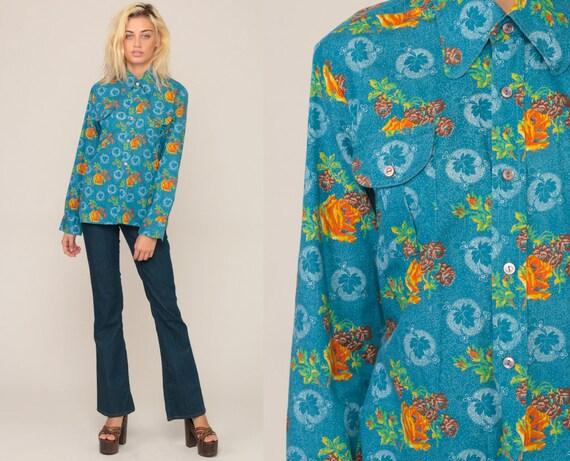 Button Up Shirt Floral Blouse 70s Boho Top Rose Shirt Button Up Shirt Bohemian Long Sleeve 1970s Vintage Hippie Collar Blue Medium
