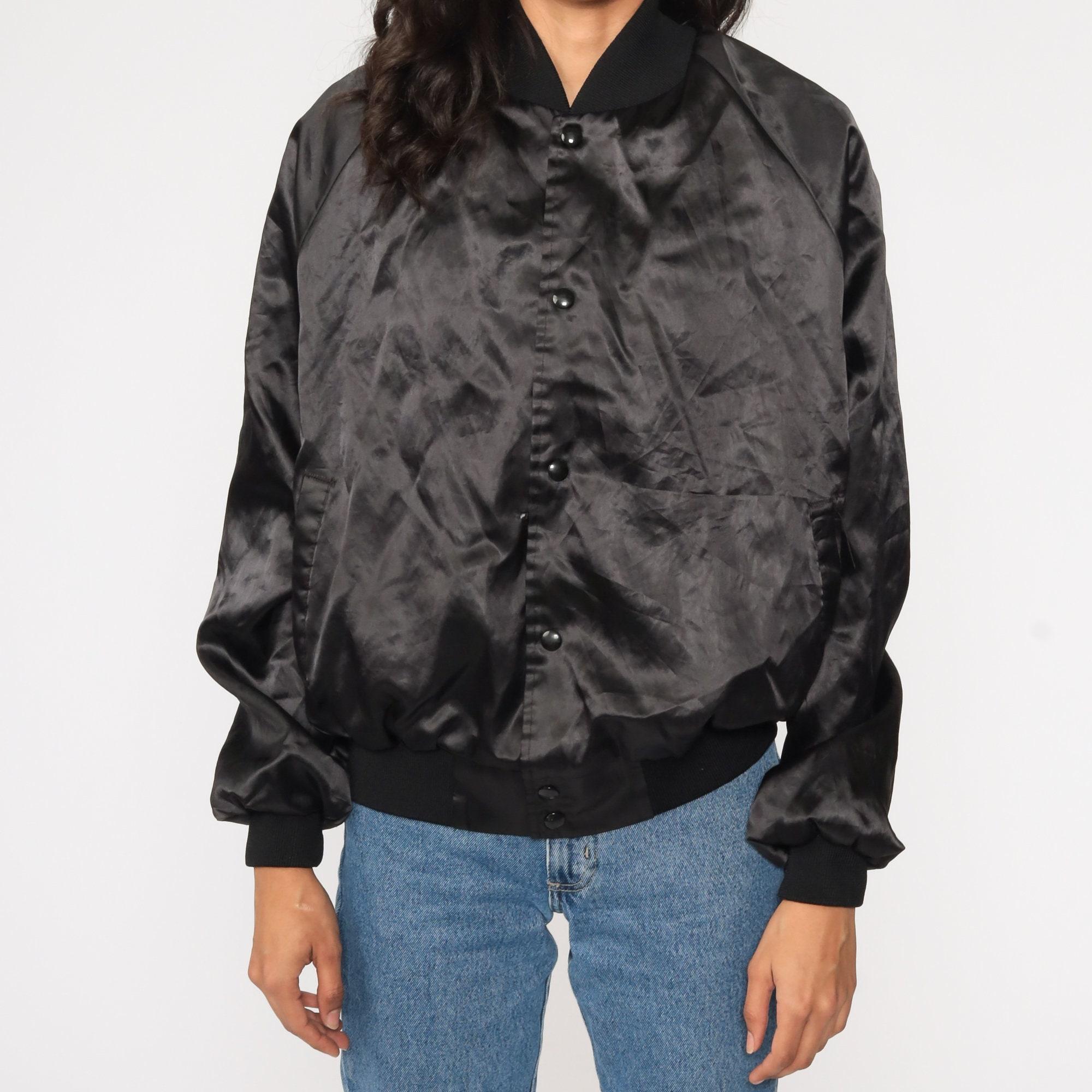 Johnny Cash Jacket Stadium Satin Bomber Jacket 80s Black Band Tour Jacket Embroidered Jacket 1980s Vintage Snap Up Large