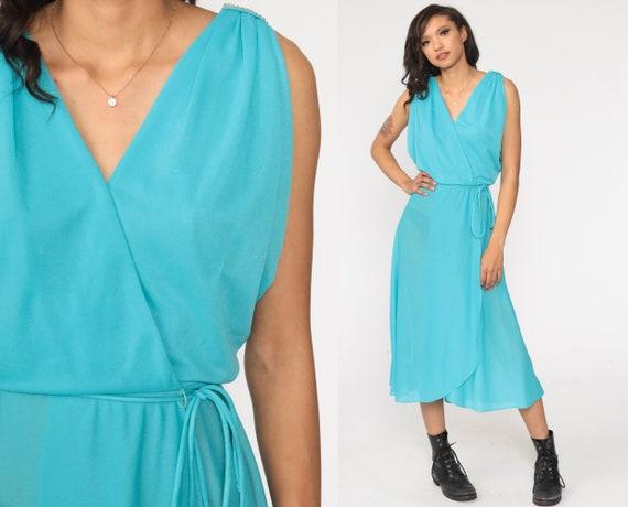Blue Wrap Dress RHINESTONE Disco Dress Grecian 70s Boho Party Midi Deep V Neck High Waist Vintage Sleeveless Bohemian Small