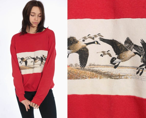 80s Canada Goose Sweater Animal Sweatshirt -- 1980s Raglan Sleeve Red Bird Print Jumper Slouchy Sweat Shirt Duck 1990s Sweater Small Medium