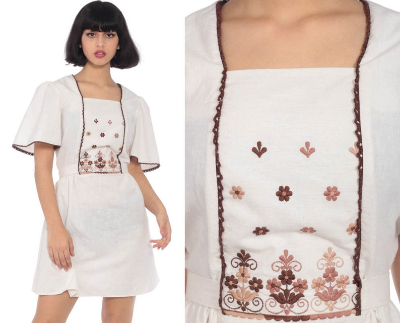 0057a596b28b3 Boho Mini Dress Babydoll 70s EMBROIDERED Bib 60s Mod Bohemian | Etsy