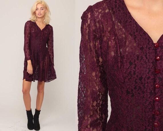 Sheer LACE Dress 90s Mini Grunge Purple Cut Out Boho Button Up 1990s Vintage Bohemian Party Long Sleeve Romantic small Medium