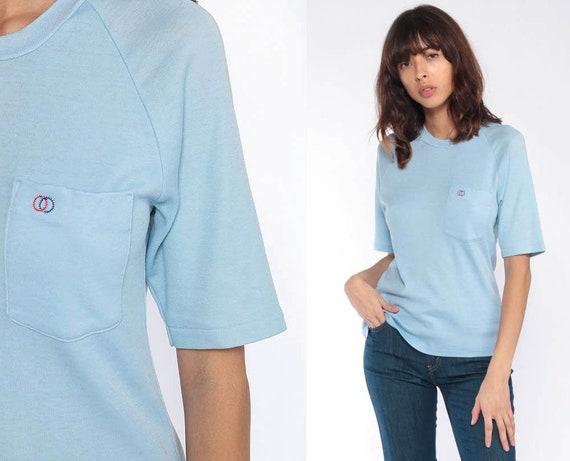 Baby Blue T Shirt -- Paper Thin Shirt Plain TShirt 80s T Shirt Vintage Burnout Tshirt Pastel Hipster Retro Tee Basic Tshirt Extra Small xs