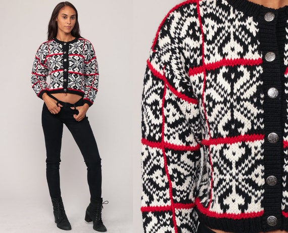 Norwegian Sweater FAIR ISLE Cardigan 90s Hippie Boho Nordic Sweater Cropped Vintage Bohemian Ethnic Black White Red Button Up Small