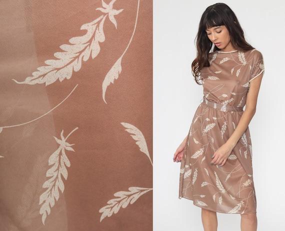 Sheer Leaf Dress 70s Boho Taupe Dress Tan High Waisted Midi Summer 1970s Cap Sleeve Vintage Bohemian Feminine Small Medium