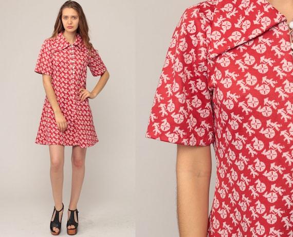 Mod Dress Hippie Shift Mini RICKSHAW PRINT 70s Boho Novelty Print Dress Vintage Button Up Red Minidress Bohemian Festival Dolly Large