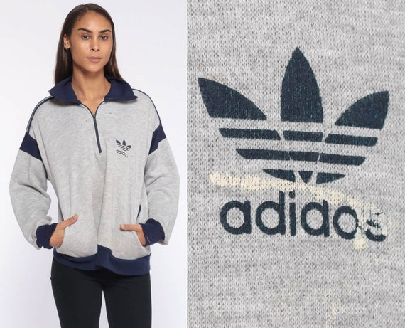 Vintage Adidas Jacket 80s Half Zip Sweatshirt -- Sports Shirt Pullover Grey Striped 1980s Distressed Trefoil Slouchy Pullover Medium Large