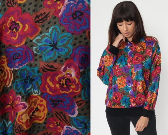 Multicolor Floral Shirt 90s Button Up Shirt Floral Blouse Collared Long Sleeve Top Grunge Boho 1990s Vintage Small Medium