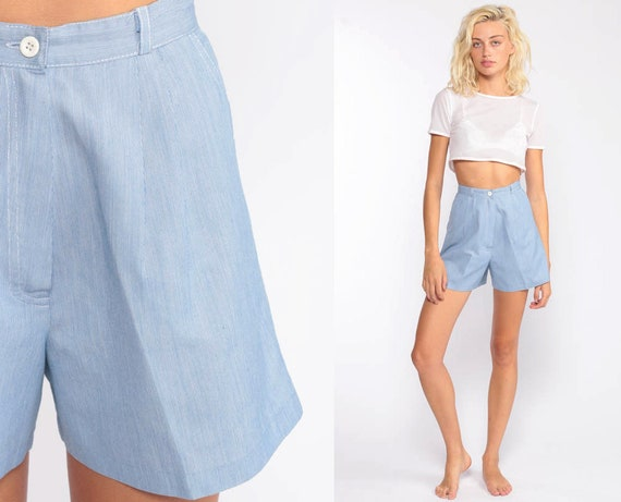 Pleated Shorts 80s Shorts Mom Shorts Blue Shorts High Waisted Retro Cotton Pinstripe Normcore 1980s Hipster Vintage Extra Small xxs 2xs