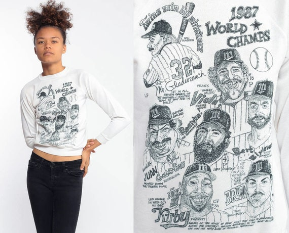 1987 Minessota Twins Sweatshirt World Champs White Sportswear 80s Baseball Sweater Vintage Mlb Pullover Extra Small XXS